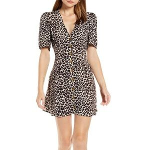 Something Navy Leopard Print Button Front Dress XL